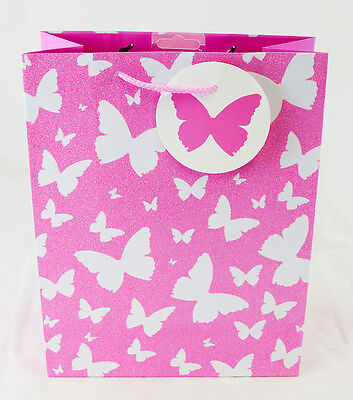 Girls Large Gift Bag Pink White Butterfly Glitter Quality Ladies Birthday Bag L