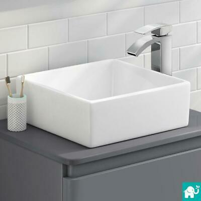 Designer White Cloakroom Space Saving Modern Bathroom Basin Counter Top Sinks