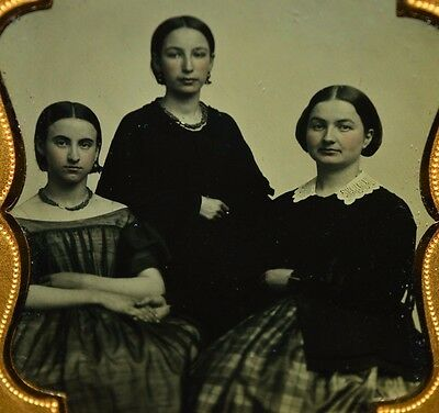 Antique Ambrotype Tin Type Three Woman Siblings Sisters