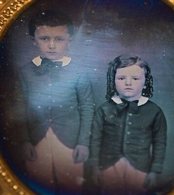 Antique Daguerreotype Youth Children Siblings Boys Curly Hair Pants