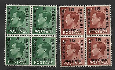 Ed VIII - Set x 2 MOROCCO AGENCIES. Blocks x 4. Fine unmounted mint. FREEPOST!