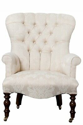 Vintage Style Cream Damask Button Back Armchair