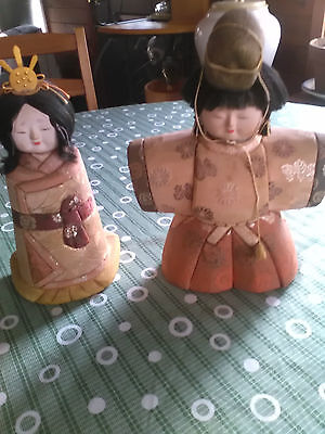 Vintage Emperor & Empress Japanese HINA DOLLS Set- Old Needs TLC