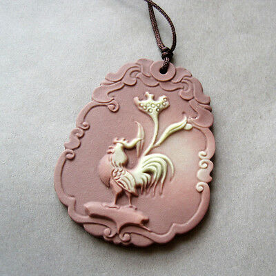 Two Layer Natural Stone Happy Lucky Chinese Zodiac Rooster Amulet Pendant