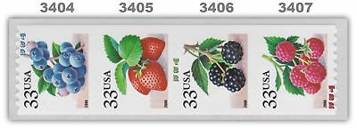 3404-07 3407 3407a Fruit Berries Linerless Coil Strip 4 From 2000 MNH - Buy Now