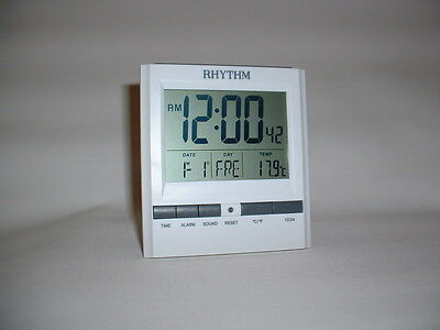 Rhythm White Square Lcd Battery Digital Alarm Clock Date Thermometer 8 Langauge