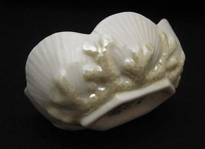 Early Belleek Fermanagh Irish Porcelain Sea Shell & Coral Open Salt Dish Cellar