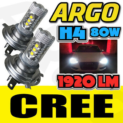 H4 Motorcycle 80W Cob Led High Low Beam Headlight Front Light Bulbs Lamp 2 X