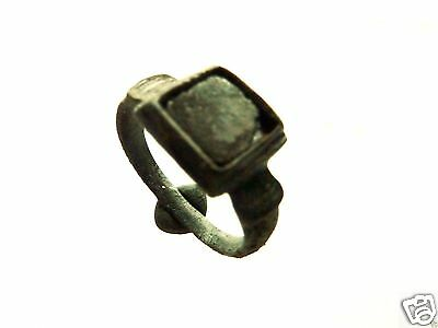 Medieval bronze ring with glass insert.  (340)