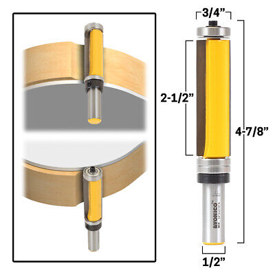 "2-1/2"" Flush Trim Top and Bottom Bearing Router Bit - 1/2"" Shank - Yonico 14135"