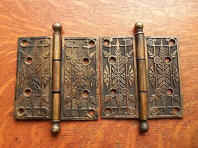 "Two Victorian Fancy Victorian Antique Cast Brass Door Hinges 5"" - Rare c1885"