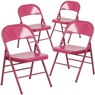 4 Hercules Color Burst Triple Braced Double Hinged Metal Folding Chair - Fuchsia