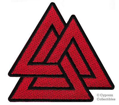 VALKNUT TRIANGLE PATCH iron-on embroidered NORSE VIKING ODIN PAGAN SYMBOL RED