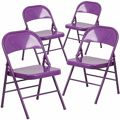 4 Hercules Color Burst Triple Braced Double Hinged Metal Folding Chair - Purple