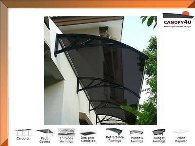 Outdoor Window Awning Cover Canopy The Hamilton 4500x1200mm Black w/Tinted Cover