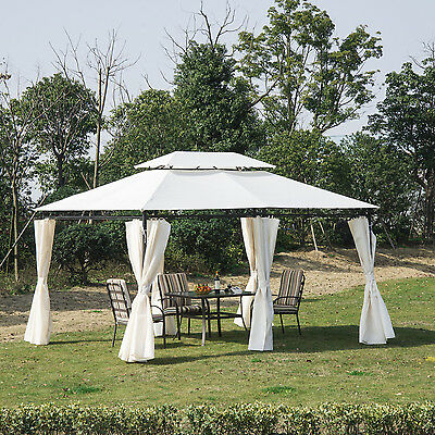 Outsunny 10'x13' 2 Tier Gazebo Canopy Party Tent Garden Shelter Sidewalls