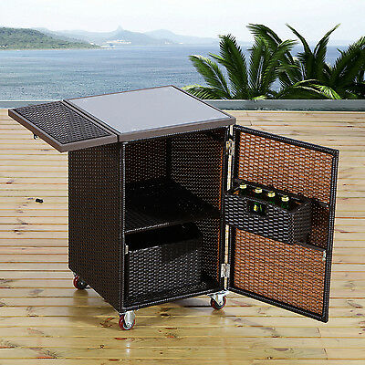 Outsunny Portable Rattan Cart Trolley Kitchen Dinning Roller Storage Holder