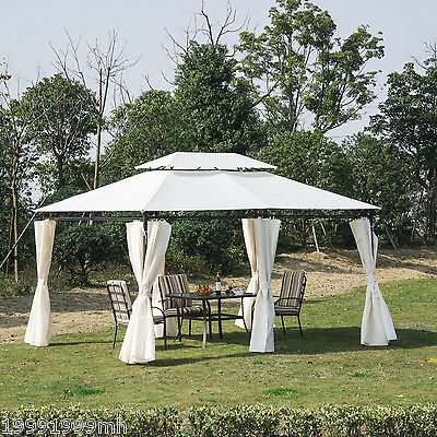 Outsunny 10'x13' Gazebo 2 Tier Party Tent Garden Shelter Canopy W/ Curtains