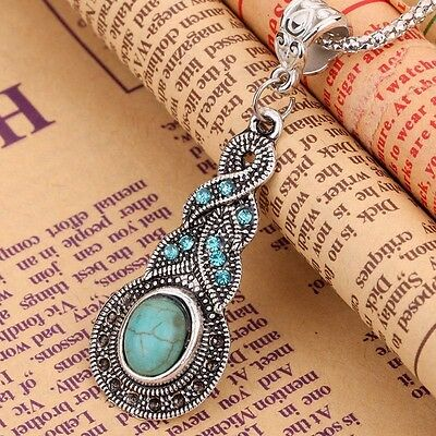 Fashion Jewelry Blue Turquoise Crystal Tibetan Silver Pendant Chain Necklace