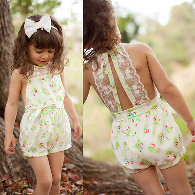2-7Y Kids Baby Lace Floral One Piece Rompers Princess Girls Jumpsuit Playsuit