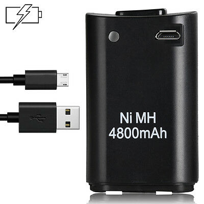 4800mAh Battery + 2M Charger Cable For Xbox 360 Wireless Controller Black UI