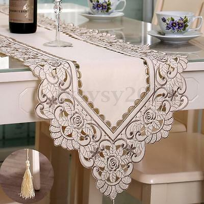 Flower Rectangle Table Runner Mat Tablecloth Tassel Wedding Party Decoration