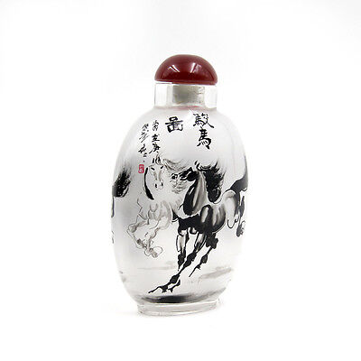 CHINESE INSIDE HAND PAINTED Happy Lucky Chinese Zodiac Horse SNUFF BOTTLE