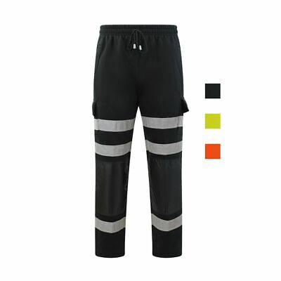 Adults Mens Hi Vis Viz Plain Trousers Pants Bottoms Joggers Cargo Style Work