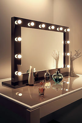 Diamond X Gloss Black Hollywood Makeup Mirror with Daylight Dimmable LED k314CW