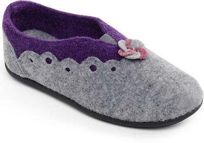 Padders HANNAH Ladies Womens Felt Wide Fit Full Slip On Slippers Grey/Purple