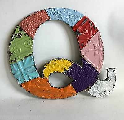 """Large Antique Tin Ceiling Wrapped 17"""" Letter 'Q' Patchwork Metal Chic A6"""