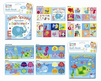 Pack of 2 Baby Waterproof Bath Time Book Educational Learning Sea Theme 6months+