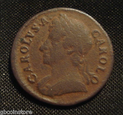 1674 Charles Ii Farthing Clear Detail Some Porosity As Is Usual Spink 3394