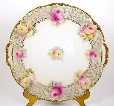 Vintage Cake Plate Pink Roses Double Handle Tray Gold Trim Beyer & Bock 1905-31