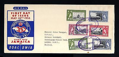 8645-JAMAICA-FIRST DAY COVER KINGSTON to LONDON (england)1955.BRITISH.PRIMER DIA