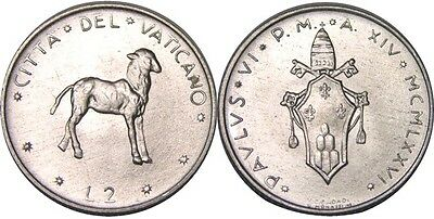 elf Vatican City 2 Lire 1976 Pope Paul VI  Lamb  Sheep