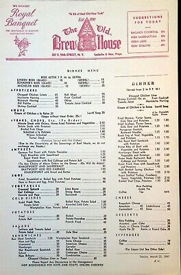 2Menu - The Old Brew House, 54th St., New York City.  1947