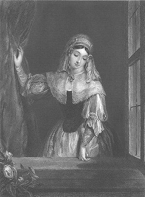 BEAUTIFUL PRETTY YOUNG RICH DUTCH GIRL AT WINDOW ~ Old 1852 Art Print Engraving