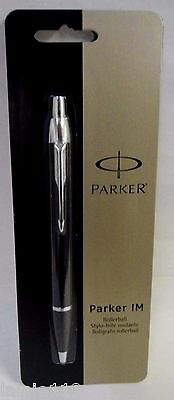 Parker IM Retractable Ballpoint Pen, Medium Point, Black Ink, Black, Carded