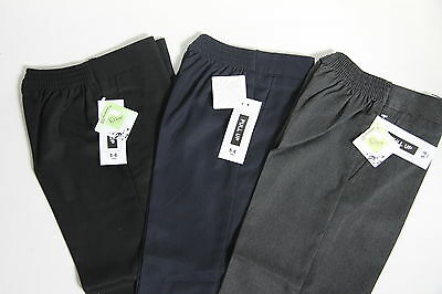 Boys Kids Pull Up Teflon School Trousers Ages 1-8 Years In Black/navy/grey