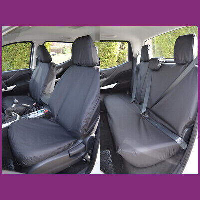 Tailored Waterproof Black Front Rear Seat Covers Fits Nissan Navara NP300 2016+