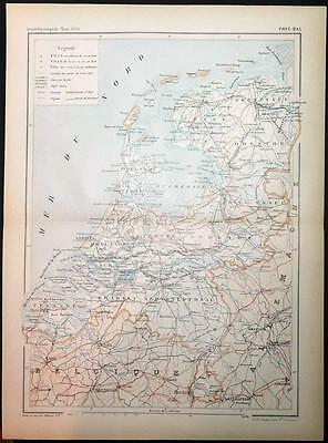 c1899 ANTIQUE PRINT COLOUR MAP of PAYS-BAS Netherlands FRENCH Carte