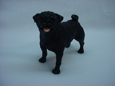 BLACK PUG dog HAND PAINTED resin FIGURIN puppy Statue NEW COLLECTIBLE CANINE K9