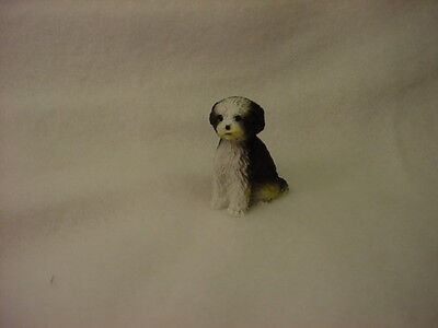 SHIH TZU black white puppy TiNY DOG Figurine MINIATURE Mini Pet Statue sport cut