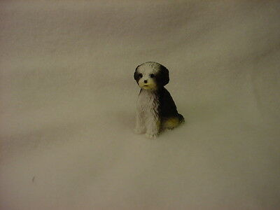 SHIH TZU black white puppy TiNY DOG Figurine MINIATURE Mini B&W Statue sport cut