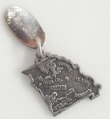 Sterling Silver Charm for Bracelet Figural State of Missouri Big Well Kansas Tag