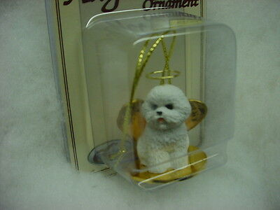 BICHON FRISE dog ANGEL Ornament HAND PAINTED Resin Figurine NEW Christmas puppy