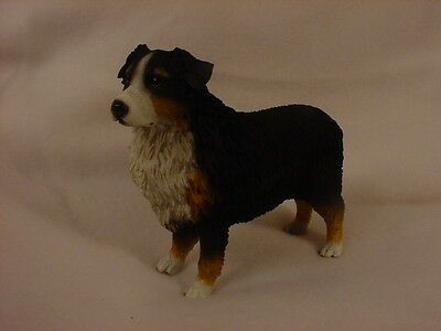 AUSTRALIAN SHEPHERD dog HANDPAINTED FIGURINE Resin Statue TRICOLOR DOCKED AUSSIE