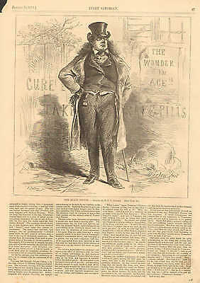 The Quack Doctor, by F.O.C. Darley, Humor, Vintage 1871 Antique Art Print