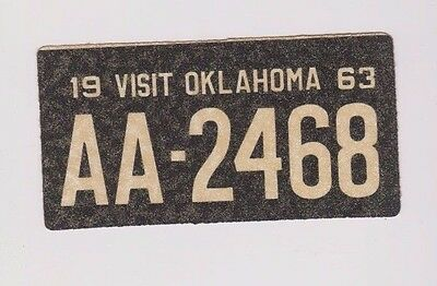 """1963 Wheaties Cereal Oklahoma 4"""" x 2"""" License Plate Glitter Sticker"""